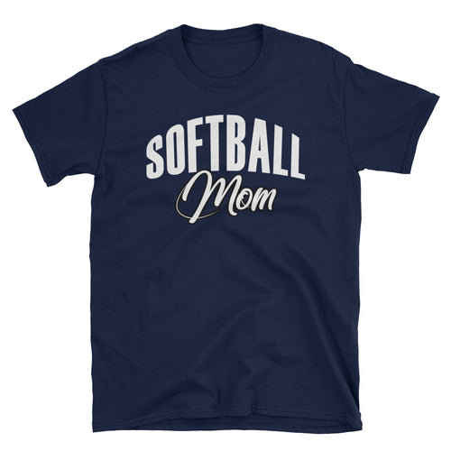 Softball Mom T Shirt Unisex Navy Sporty Softball Mom Gift T Shirt Design Idea