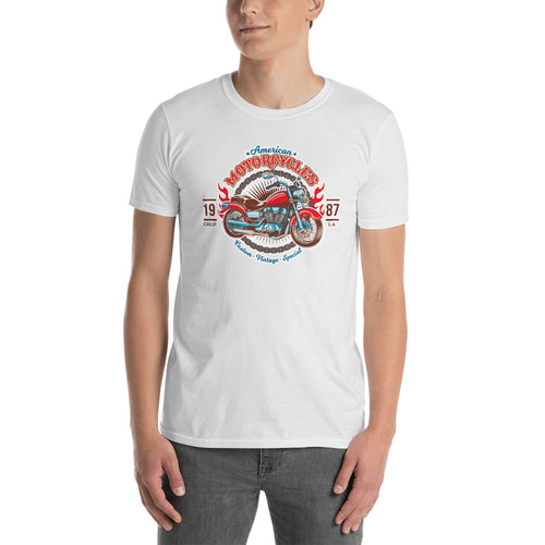 Vintage Motorcycle T Shirt White Triumph California Custom Vintage Biker T Shirt for Men - FlorenceLand