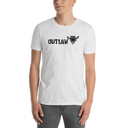 Outlaw T Shirt White Outlaw One Word T Shirt for Men - FlorenceLand