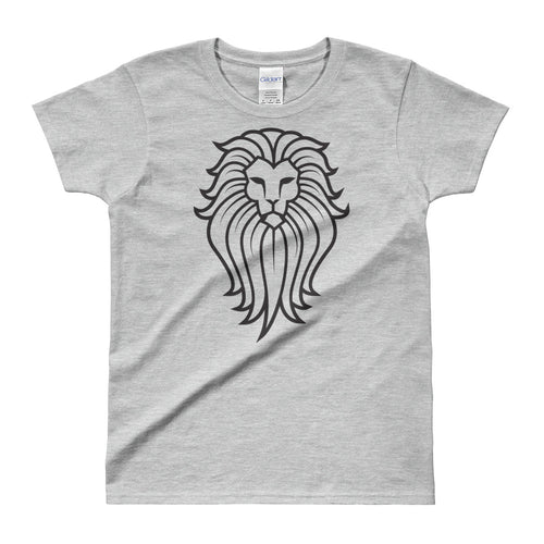 Tribal Lion T Shirt Grey Lion Wild Life T Shirt for Women - FlorenceLand