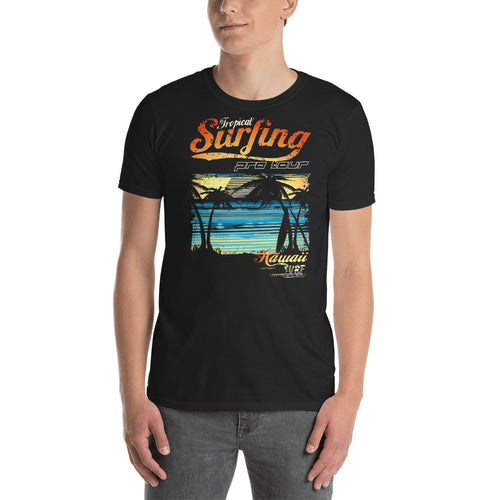 Buy Tropical Surfing at Hawaiian Surf Beach T-Shirt  for Men in Black