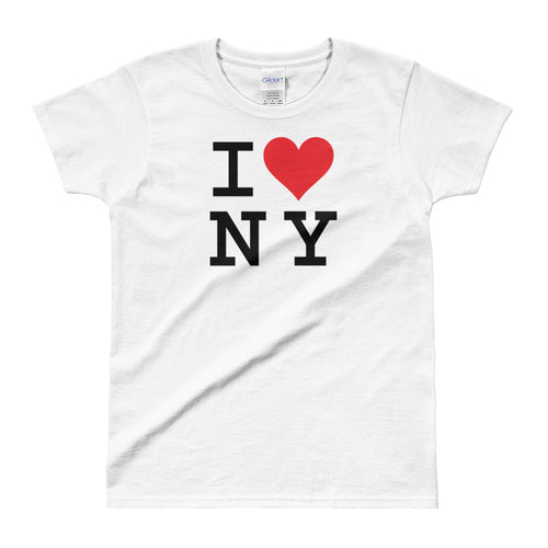 I Love NY White 100% Cotton I Love New York T Shirt for Women - FlorenceLand
