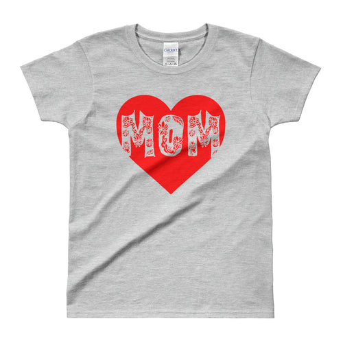 Mom Heart T Shirt Grey Mothers Day T Shirt Gift for Mom Awesome Mom T Shirt for Women - FlorenceLand