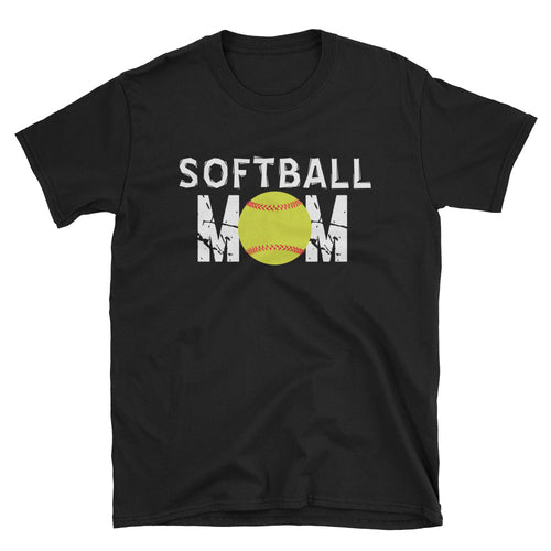 Softball Mom T Shirt Black Unisex Softball T-Shirt Gift Idea for Sporty Mum - FlorenceLand