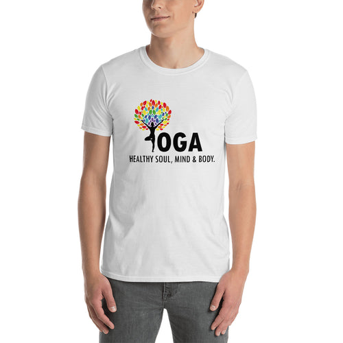 Yoga T Shirt White Shakti Yoga T Shirt Healthy Soul, Mind & Body T Shirt for Men - FlorenceLand