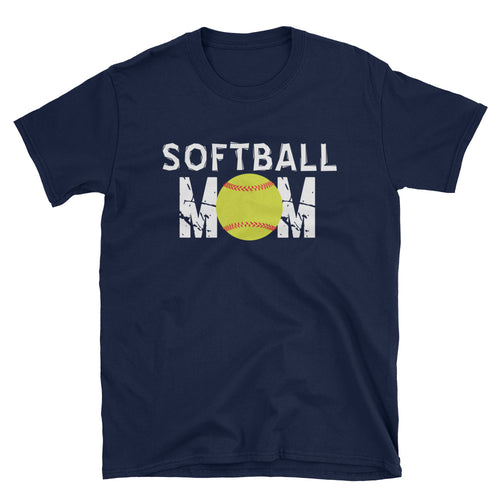 Softball Mom T Shirt Navy Unisex Softball T-Shirt Gift Idea for Sporty Mum - FlorenceLand