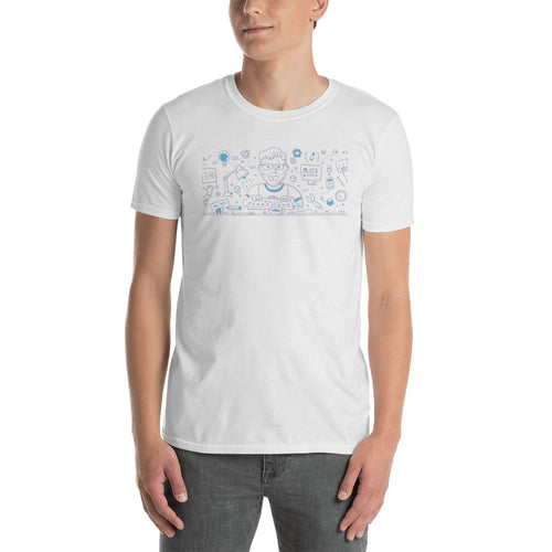 Front End Development Doodle Concept T Shirt White Design Geek T Shirt for Men - FlorenceLand