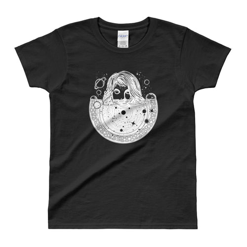 Woman In Space Tattoo Art T Shirt Surreal Girl Sinks In Universe T Shirt Black - FlorenceLand