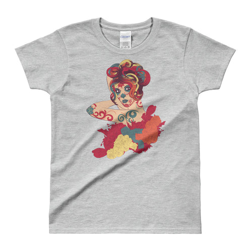 Day of the Dead Short Sleeve Round Neck Grey Cotton T Shirt for Women - FlorenceLand