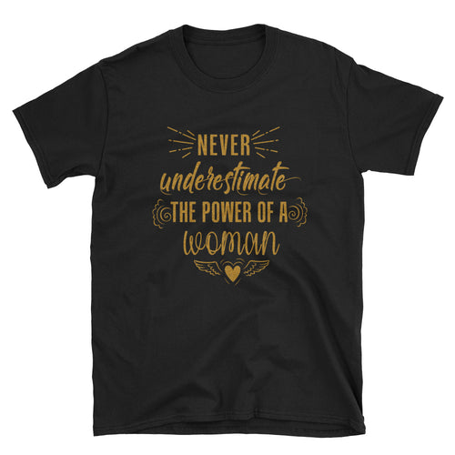 Never Underestimate The Power of a Woman T Shirt Golden Glitter Black Woman Power Tee - FlorenceLand