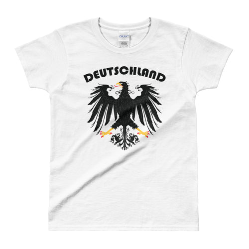 Deutschland Germany Vintage Eagle Coat of Arms Black T Shirt Tee for Women - FlorenceLand