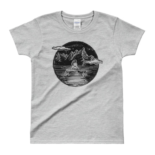 Girl in The Mountain Tattoo Design Ink & Inspiration White Shirt for Women in Grey Color - FlorenceLand