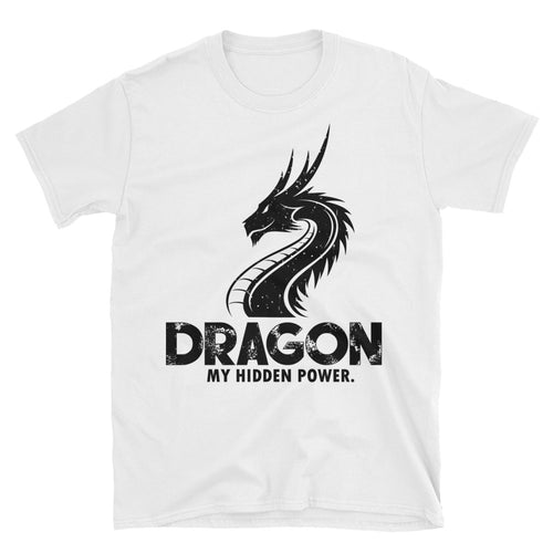 Dragon Printed Short Sleeve Round Neck White 100% Cotton T-Shirt for Men - FlorenceLand