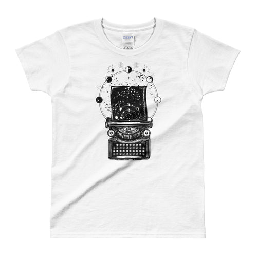 Typewriter tattoo Design T Shirt Symbol of Imagination Typewriter T Shirt White for Women - FlorenceLand