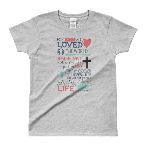 Gods Love T Shirt Christian Religion T Shirt Grey Bible Verses T Shirts for Women - FlorenceLand