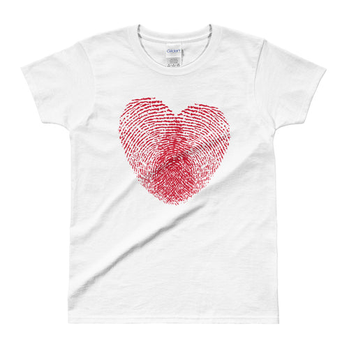 Heart Fingerprint T-shirt Love Fingerprint White Cotton T-Shirt for Women - FlorenceLand