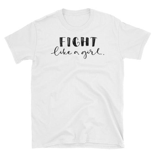 Fight Like a Girl T Shirt White Color Girl Empowerment T Shirt Short-Sleeve Strong Girl T-Shirt - FlorenceLand