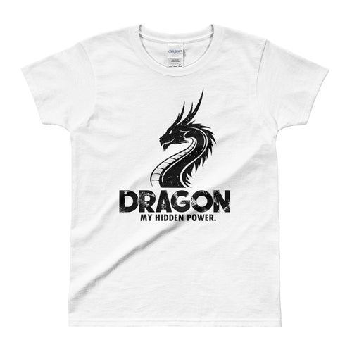 Dragon Printed Short Sleeve Round Neck White 100% Cotton T-Shirt for Women - FlorenceLand