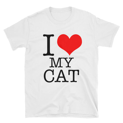 I Love My Cat T-Shirt White Cat Lover T Shirt for Men