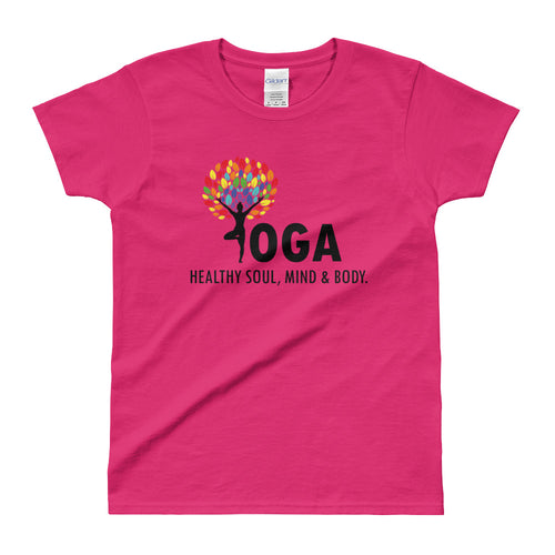 Yoga T Shirt Pink Shakti Yoga T Shirt Healthy Soul, Mind & Body T Shirt for Women - FlorenceLand