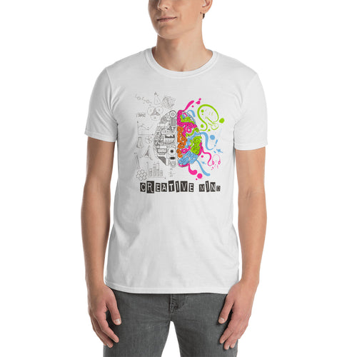 Creative Mind T Shirt White Nerd Brain T Shirt for Men - FlorenceLand