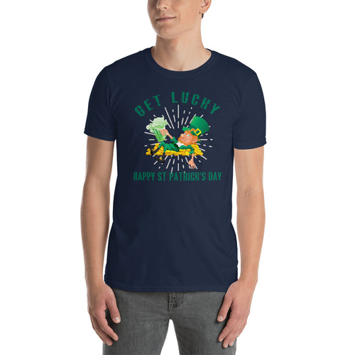 Get Lucky T Shirt Navy Happy St. Patrick's Day T Shirt for Men - FlorenceLand