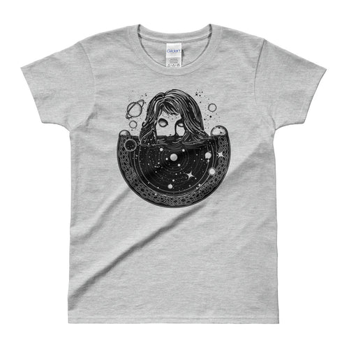 Woman In Space Tattoo Art T Shirt Surreal Girl Sinks In Universe T Shirt Grey - FlorenceLand