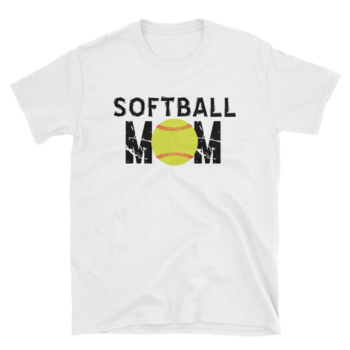 Softball Mom T Shirt White Unisex Softball T-Shirt Gift Idea for Sporty Mum - FlorenceLand
