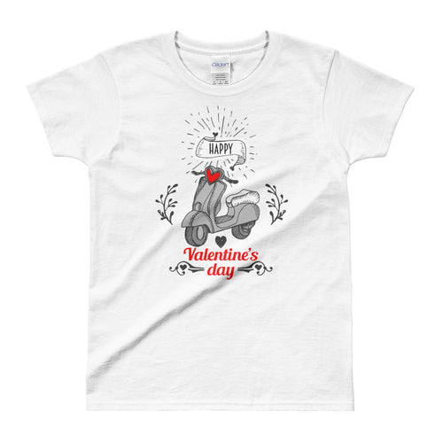 Cute Valentine's Day Short Sleeve Round Neck White 100% Cotton T-Shirt for Women - FlorenceLand