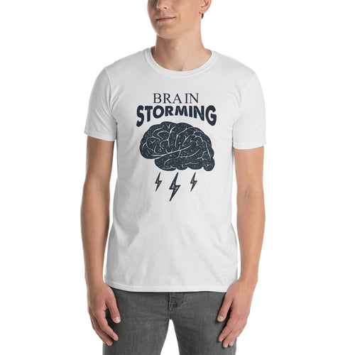Brainstorming T Shirt  White Brainstorm Short-Sleeve Cotton T-Shirt - FlorenceLand