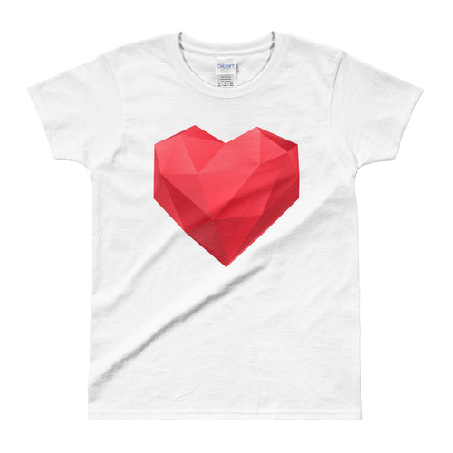 Asymmetrical Heat T Shirt White Geometrical Heart T Shirt for Women - FlorenceLand
