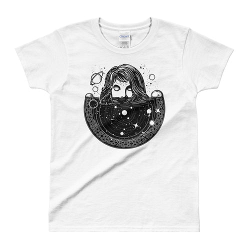 Woman In Space Tattoo Art T Shirt Surreal Girl Sinks In Universe T Shirt White - FlorenceLand