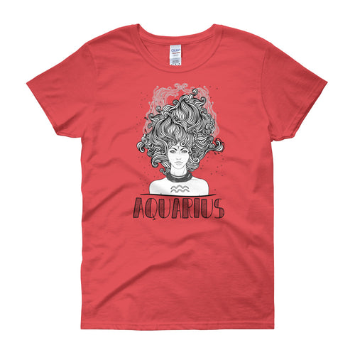 Aquarius T Shirt Zodiac Coral Silk Cotton T-Shirt for Women - FlorenceLand