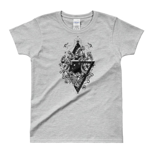 Flowers Art Nouveau Triangle Tattoo Design T Shirt Grey for Women - FlorenceLand