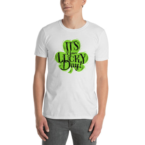 Its Your Lucky Day T Shirt White Shamrocks St Patrick's Day T Shirt for Men - FlorenceLand