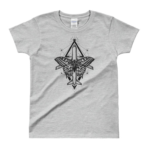 Magic Moth Butterfly And Plane Tattoo Design Grey T Shirt for women - FlorenceLand