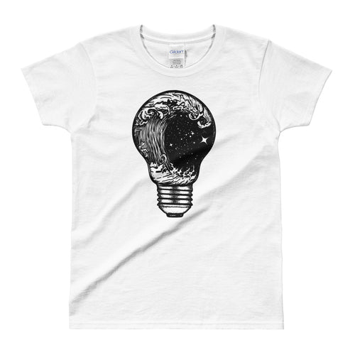 Perfect Storm in Light Bulb Tattoo Design T Shirt White for Women - FlorenceLand