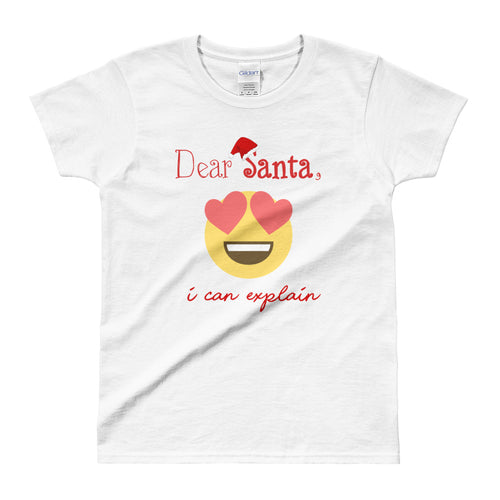 Dear Santa I Can Explain T Shirt Emoji Santa T Shirt For Women