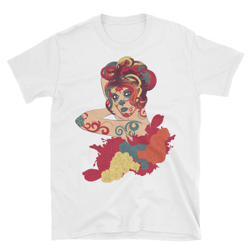 Day of the Dead Short Sleeve Round Neck White Cotton T Shirt for Men - FlorenceLand