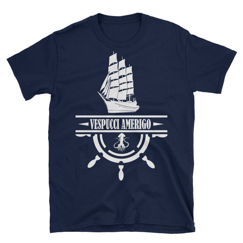 Nautical Ship Printed Short Sleeve Round Neck Navy Blue Cotton T-Shirt for Men - FlorenceLand