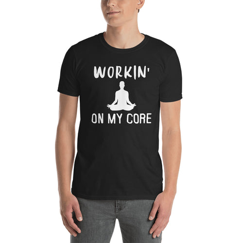Working on My Core T Shirt Black Short-Sleeve T-Shirt for Men - FlorenceLand