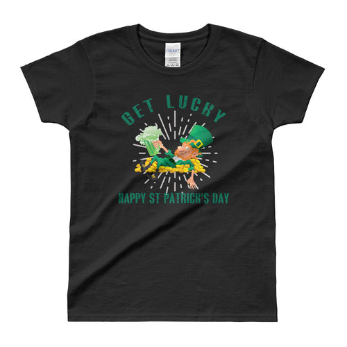 Get Lucky T Shirt Black Happy St. Patrick's Day T Shirt for Women - FlorenceLand