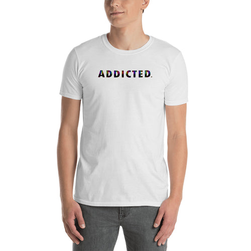 Addicted T Shirt White Addicted T Shirt Rainbow Color for Men - FlorenceLand