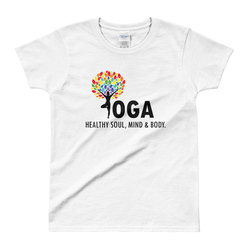 Yoga T Shirt White Shakti Yoga T Shirt Healthy Soul, Mind & Body T Shirt for Women - FlorenceLand