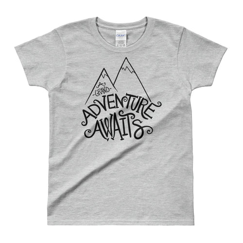 Adventure Awaits T Shirt Grey Cotton Adventure Time T Shirt for Women - FlorenceLand