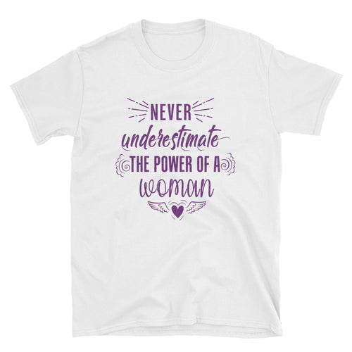 Never Underestimate The Power of a Woman T Shirt White Purple Glitter Woman Power Tee