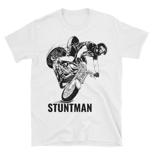 Stunt Biker T Shirt Stunt Man T Shirt White Biker T Shirt For Men - FlorenceLand
