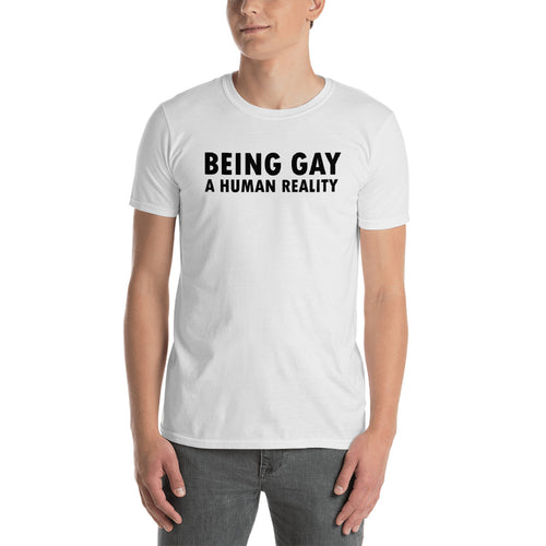 Being Gay T Shirt White Being Gay A Human Reality T Shirt For Men - FlorenceLand