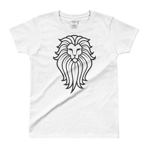 Tribal Lion T Shirt White Lion Wild Life T Shirt for Women - FlorenceLand