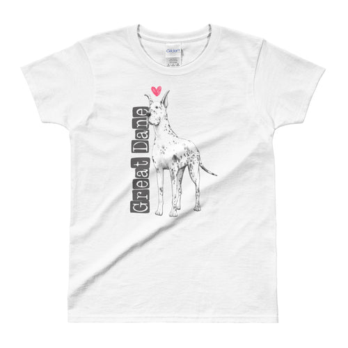 Great Dane Love T Shirt White Dog Lover T Shirt Dog Lady T Shirt for Women - FlorenceLand